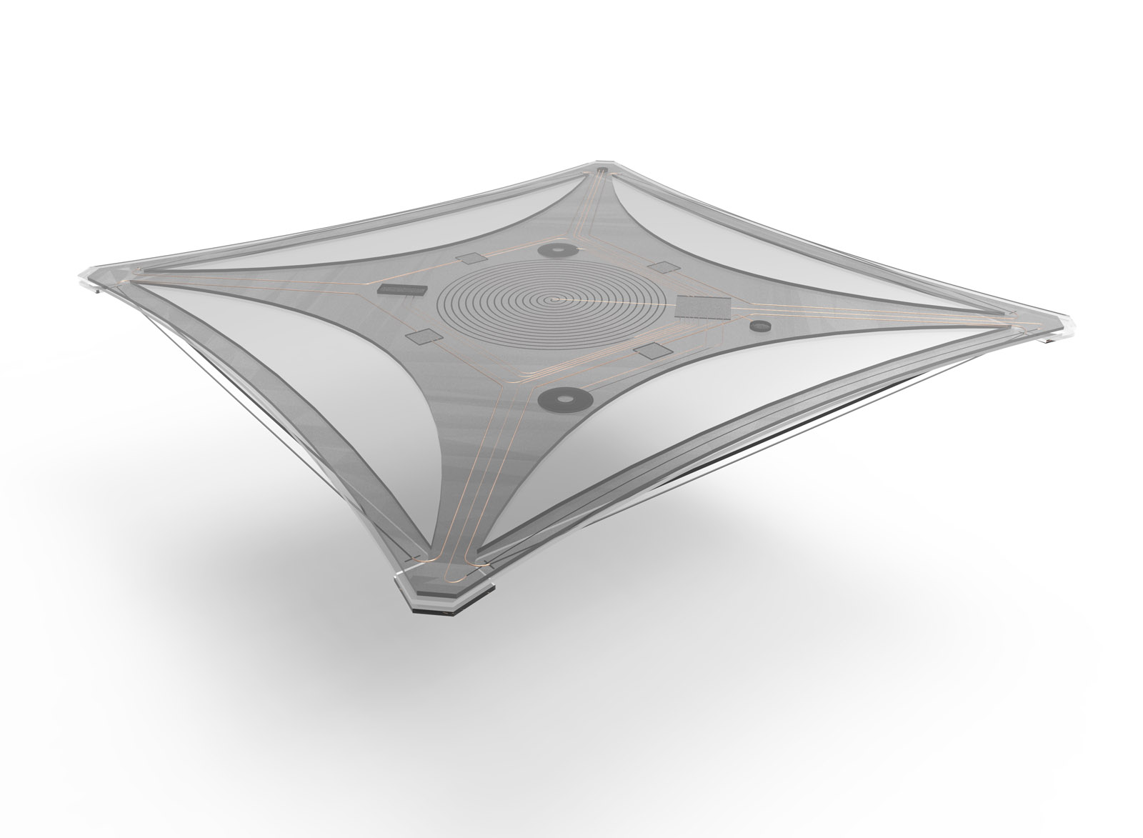 A flexible, shape-memory tray – laminated structure with integrated actuator, sensor technology and control electronics.